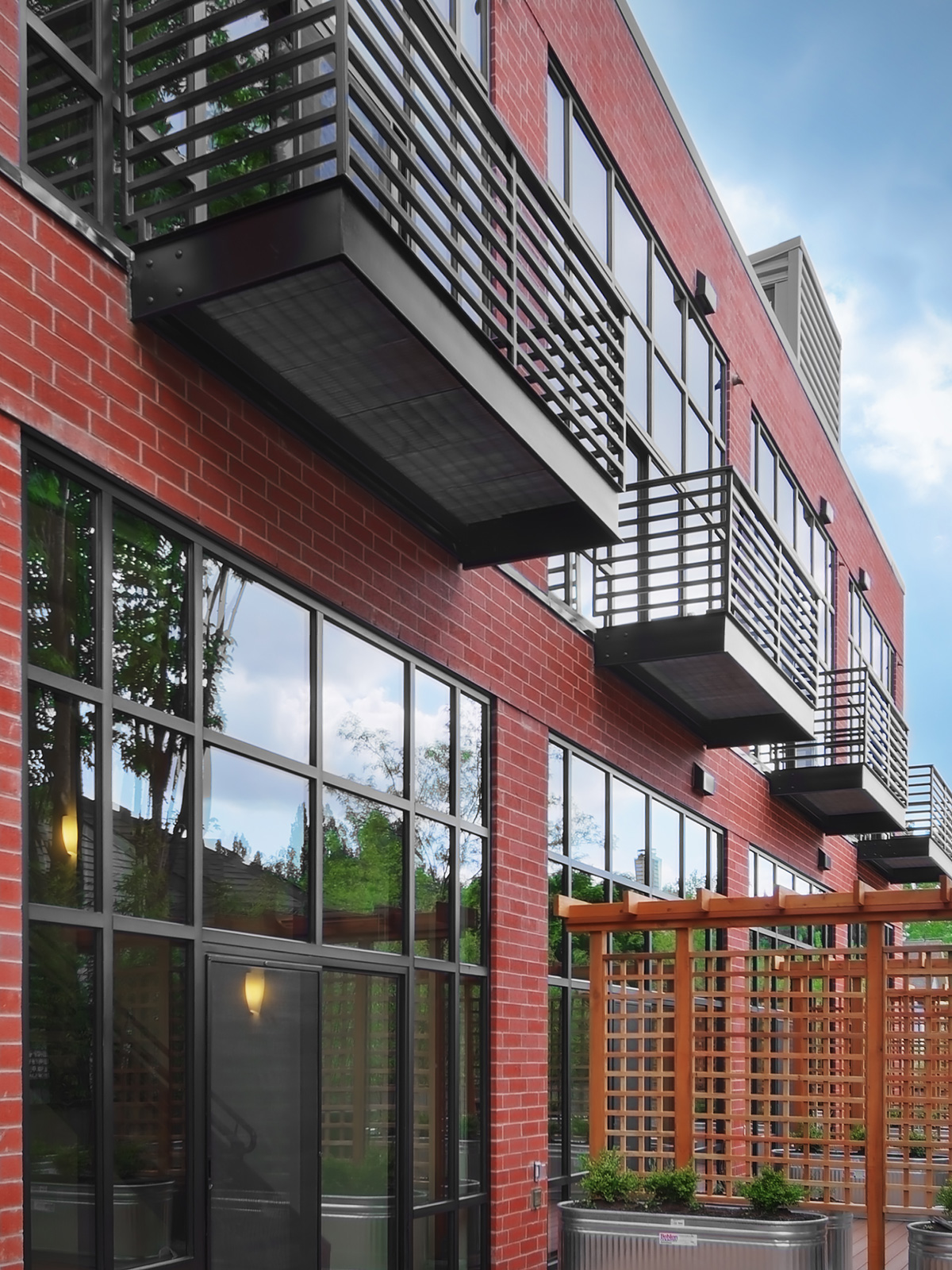 Madison Lofts building exterior balconies and glass windows