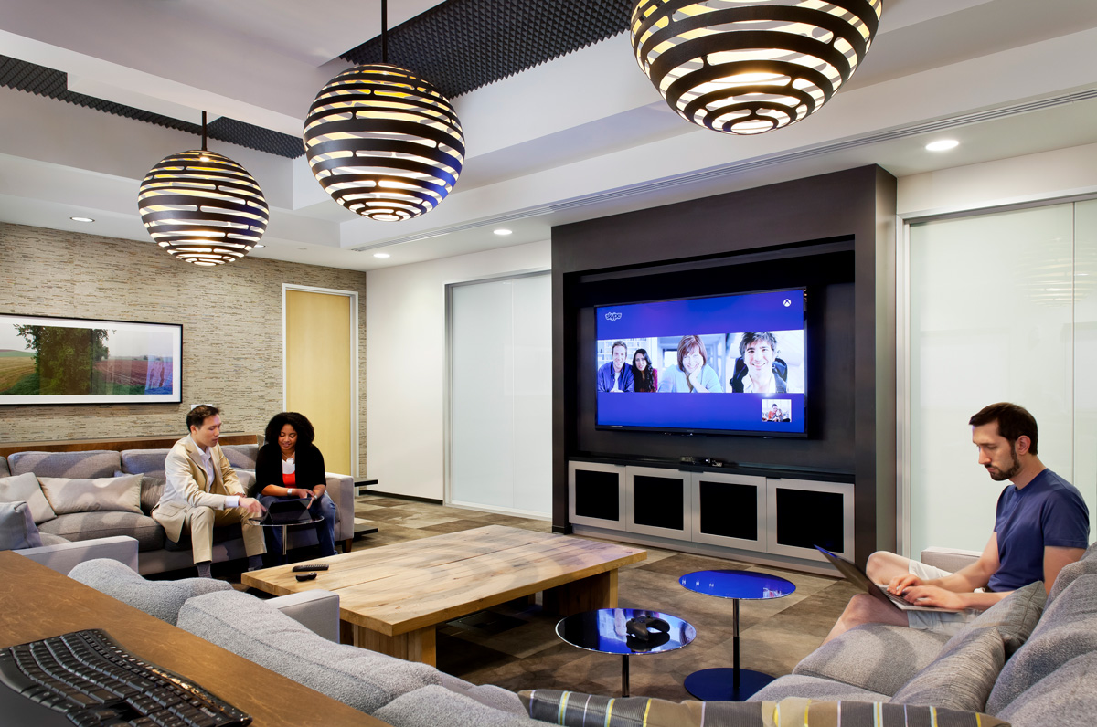 Microsoft B20 Renovation office conference lounge with media