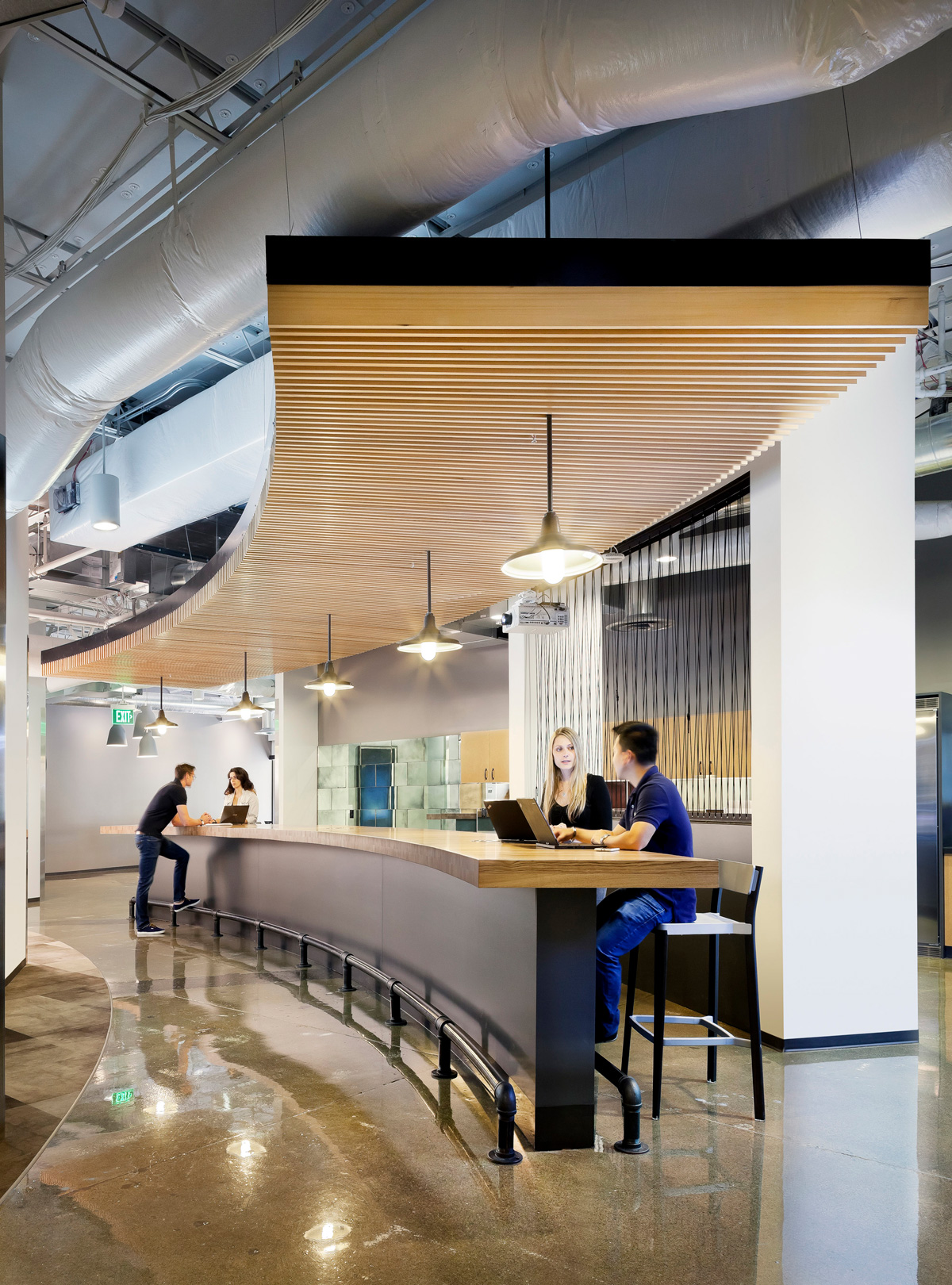 Microsoft B20 Renovation office lounge bar with stools