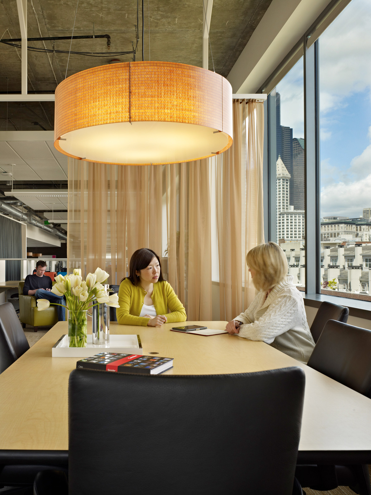 Nuance Communications conference room table with Seattle view