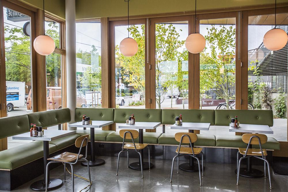 Skillet Diner restaurant seating, big windows with natural light