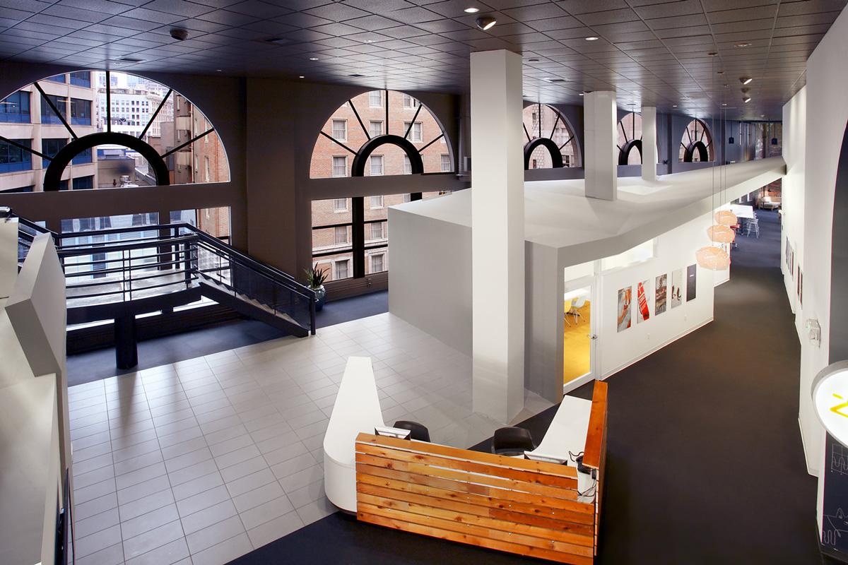 Zaaz tenant improvement office lobby and reception desk