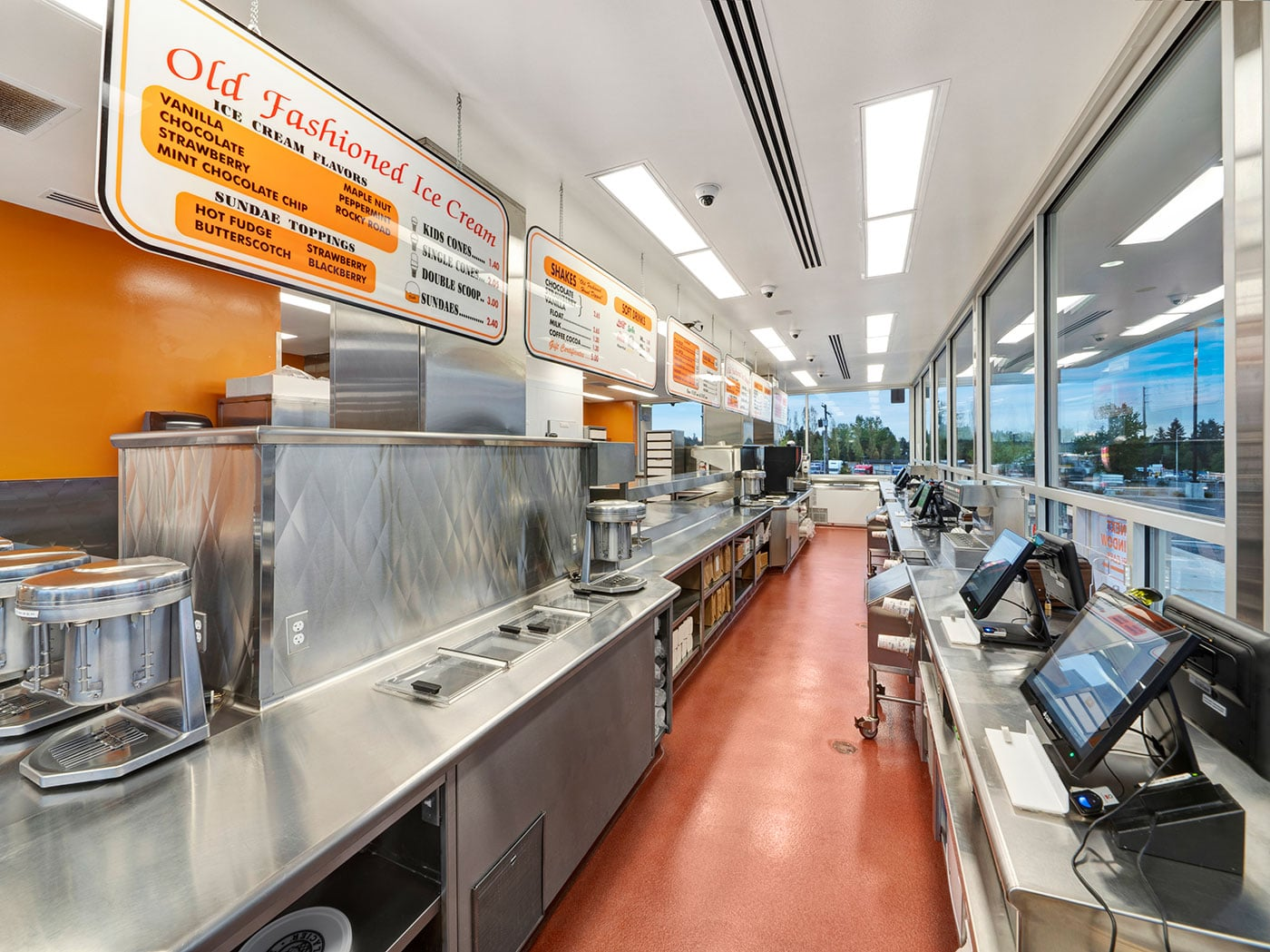 Interior of cooking, prep and serving area of Dick's Drive-in